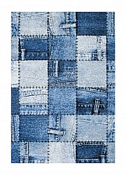 Matto 133 x 190 cm (wilton) - Indigo Denim Patch (sininen)
